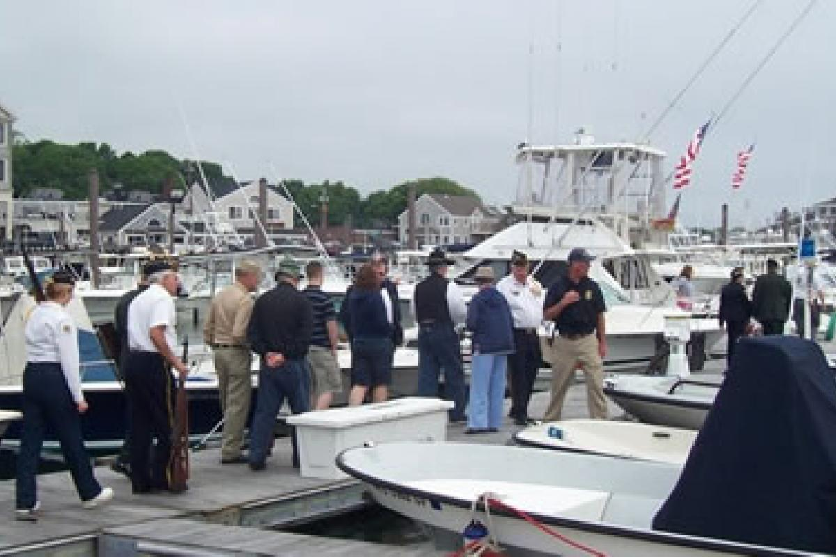 May 2012 – Memoral Day Ceremony. Harbormaster Patterson and staff prepare to esc